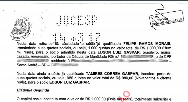 Contrato social mostra relação societária de ex-coronel com Felipe Ramos Morais