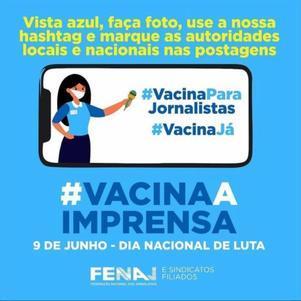 Fenaj reivindica categoria entre os grupos prioritários para vacinação contra covid-19