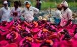 Cabras à venda como animais de sacrifício são vistas em um mercado de gado improvisado antes do festival muçulmano Eid Al-Adha em Chennai, na Índia. No evento, celebrado a cada ano, os muçulmanos abatem um animal de sacrifício e dividem a carne em três partes: uma para a família, uma para amigos e parentes e outra para os pobres e necessitados