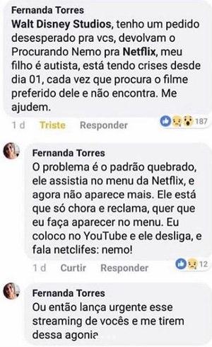 A publicação de Fernanda
