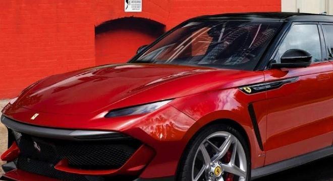 Projeção da dianteira do Ferrari Purosangue que será esportivo e ao mesmo tempo um SUV