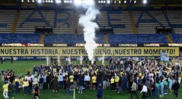 Festa do Villarreal após título da Liga Europa