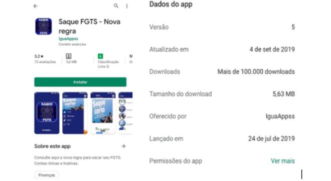 App falso que foi encontrado para download na Google Play
