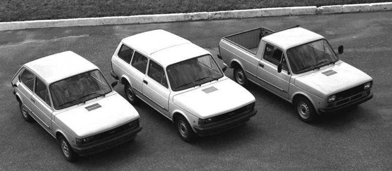 Linha básica do Fiat 147 em 1980 com família completa: hatch, perua e pick-up