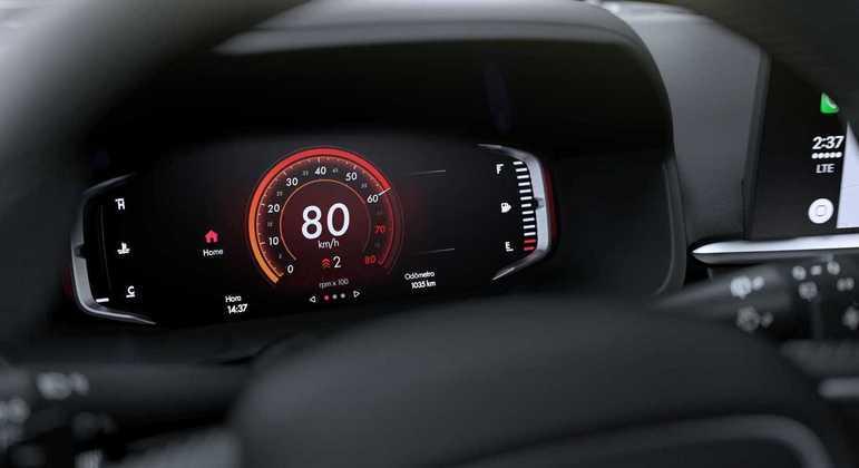 Interior do carro contará com um painel digital de 7 polegadas