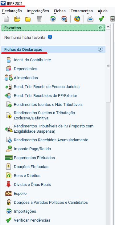 Fichas da declaração IR 2021