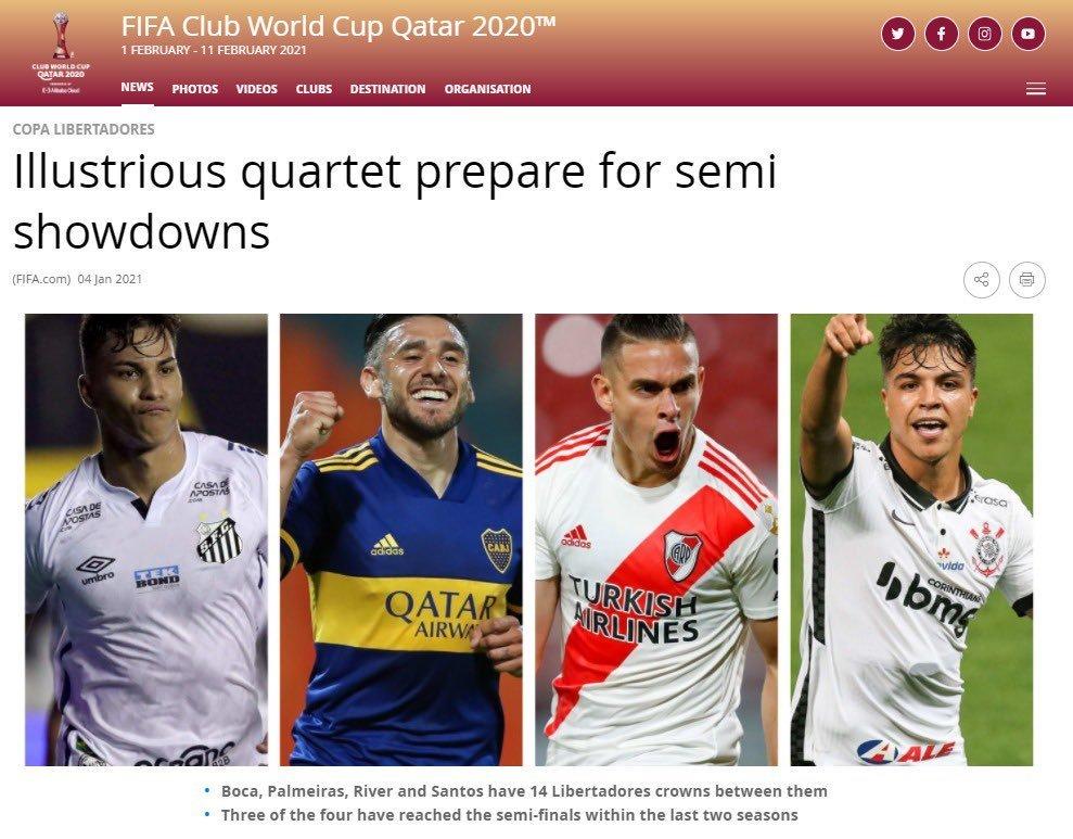 O descaso que a Fifa tem pelo futebol sul-americano. Corinthians 'semifinalista'...