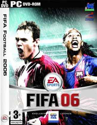 FIFA 06 -A capa do game trouxe o atacante inglês Wayne Rooney ao lado do meia brasileiro Ronaldinho Gaúcho na capa.