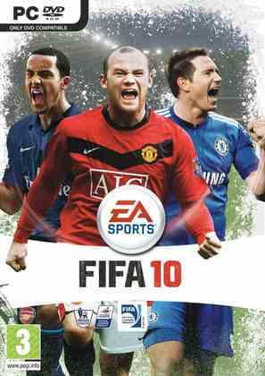 FIFA 10 - A EA voltou a adotar a estratégia de várias capas regionais, sem uma única global. A capa internacional foi a de Wayne Rooney, Frank Lampard e Theo Walcott.