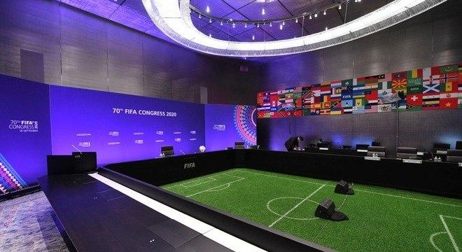 O auditório do evento virtual de 2020