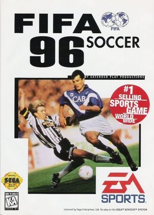 FIFA 96 -  A capa global do game era estrelada pelo meio-campista romeno Ioan Sabău.