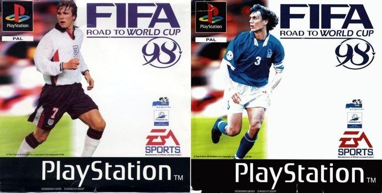 FIFA 98 - FIFA: Road to World Cup 98 foi lançado em 17 de junho de 1997 e trouxe várias capas distintas, com estrelas nacionais estampando o game em seus países, com destaque para David Beckham (esquerda), da Inglaterra, e Paolo Maldini (direita), da Itália.