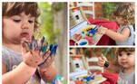 Maria Clara, filha de Tatá Werneck e Rafael Vitti, voltou a encantar seguidores em fotos durante uma aula de pintura