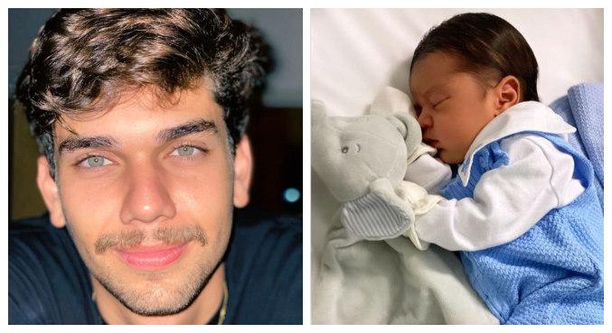 Leandrinho postou fotos do filho recém-nascido nas redes sociais