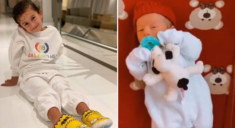 Lorenzo (à esquerda), de 6 anos, e Lucas (à direita), de 2 meses e meio, são filhos de Pétala e Marcos