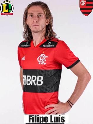 Filipe Luís: 7,0 – Um dos melhores jogadores do Flamengo na partida. Não errou um passe sequer no primeiro tempo, foi importante na defesa e deu opção no campo de ataque.