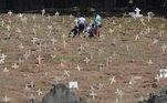 Movimentação de amigos e familiares de entes queridos que foram enterrado no Cemitério São Francisco Xavier, localizado no bairro do Caju, zona norte do Rio de Janeiro, foi grande e marcada de muita comoção por causa do novo coronavírus
