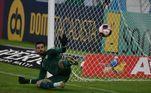 Marcos Felipe, goleiro do Fluminense, não consegue defender o pênalti cobrado por Gabigol