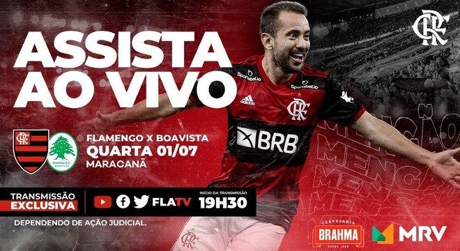 Flamengo anunciando a transmissão. Com Brahma e MRV como patrocinadores