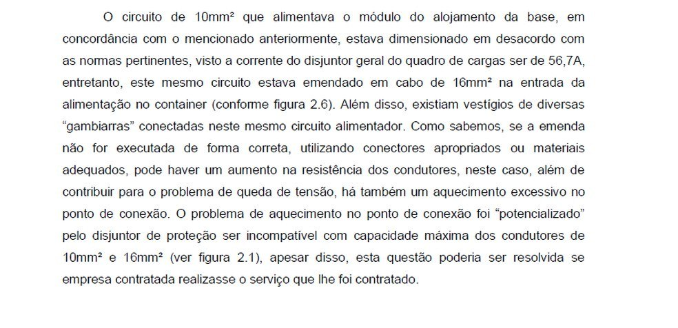 O ponto principal do relatório da Anexa após o incêndio. Disjuntor incompatível