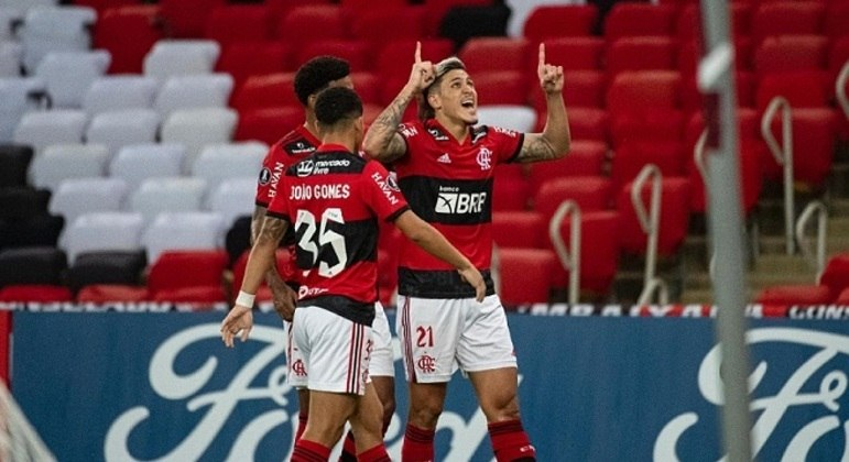 Jogadores do  Flamengo comemoraram gol na Libertadores da América