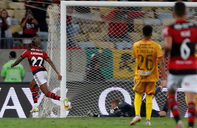 Flamengo 2x0 Barcelona (EQU) - Ida da semifinal da Libertadores, no Maracanã: quem brilhou no reencontro com a torcida no Maracanã foi Bruno Henrique, que fez os dois gols