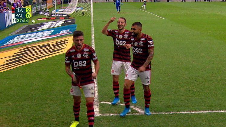 Flamengo 3x0 Palmeiras - 1/9/2019 - Gols de Gabriel Barbosa (2) e Arrascaeta