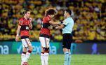 Na partida desta quarta-feira, David Luiz novamente foi escalado no time titular do Flamengo. Ele fez a estreia com a camisa rubro-negra no jogo de ida contra o Barcelona, no Maracanã, semana passada