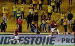 Nesta quarta-feira, a vantagem do Flamengo ficou ainda maior logo aos 17 minutos do primeiro tempo, quando Bruno Henrique abriu o placar