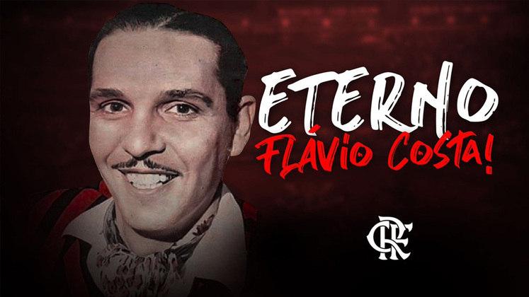 Flamengo: Flávio Costa – Ele comandou de 1934 a 1944 e 1963 e ficou 784 jogos à frente do Rubro Negro carioca.