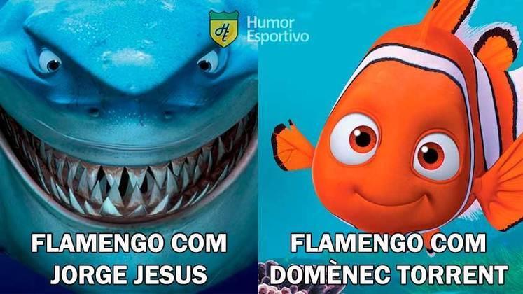 Flamengo sofre sua segunda derrota sob comando de Domenèc Torrent, vai para última lanterna do Brasileirão e rivais fazem memes com provocações. Veja na galeria!