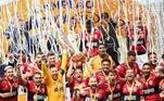 Flamengo, com o título da Supercopa do Brasil, chegou a 14 conquistas e se aproxima do líder. Os títulos nacionais do rubro negro: 8 Campeonatos Brasileiros, 3 Copas do Brasil e 2 Supercopas do Brasil