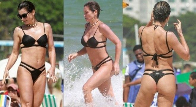 Flávia Alessandra apostou no modelo com recortes e chamou a atenção pelo corpão!