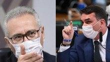 Renan Calheiros e Flávio Bolsonaro voltam a discutir na CPI: 'Me erra'