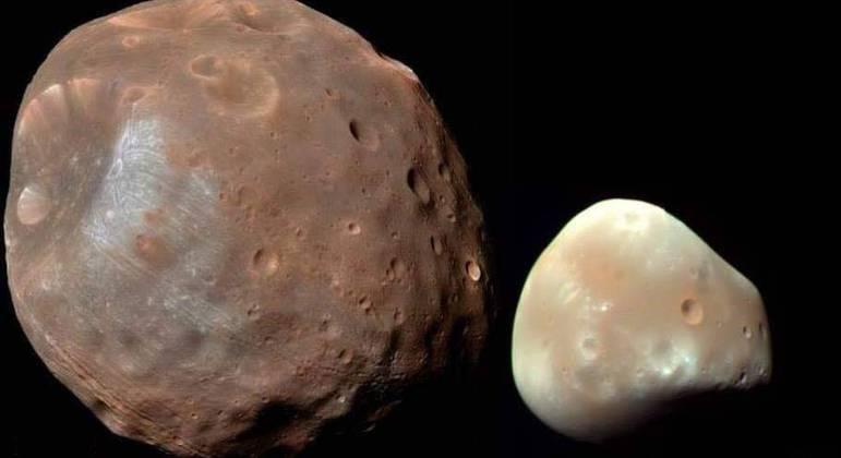 As duas luas de Marte: Fobos (à esquerda) e Deimos (à direita)