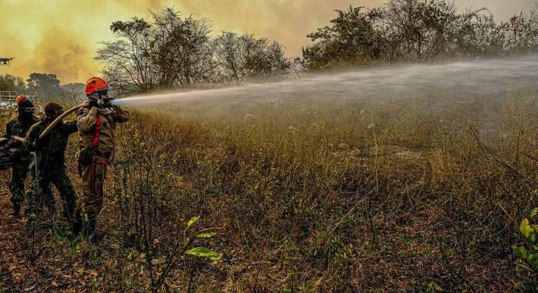 Fogo em área do Pantanal em Poconé (MT), em setembro de 2020
