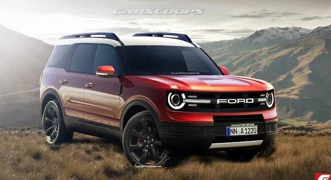 Projeção do Carscoop sobre o novo Ford Bronco Sport de apelo mais moderno para a linha