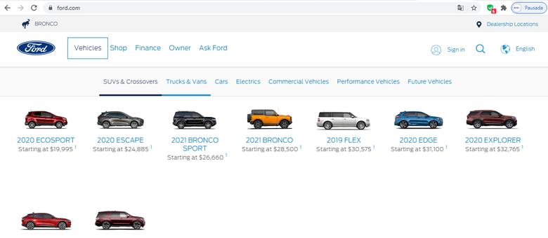Montadora oferece nove crossovers e três pickups nos EUA mas apenas um automóvel (Mustang)