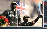Hamilton, em primeiro lugar, Bottas, em segundo, eAlexander Albon, em terceiro, formaram o pódio da corrida