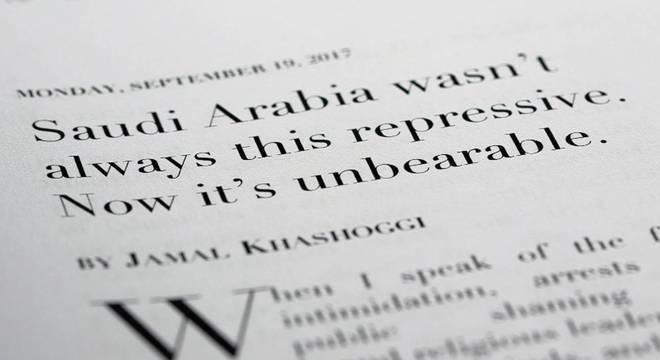 Khashoggi escreveu 20 colunas para o jornal americano The Washington Post