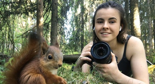 A fotógrafa colocou um microfone escondido perto do filhote