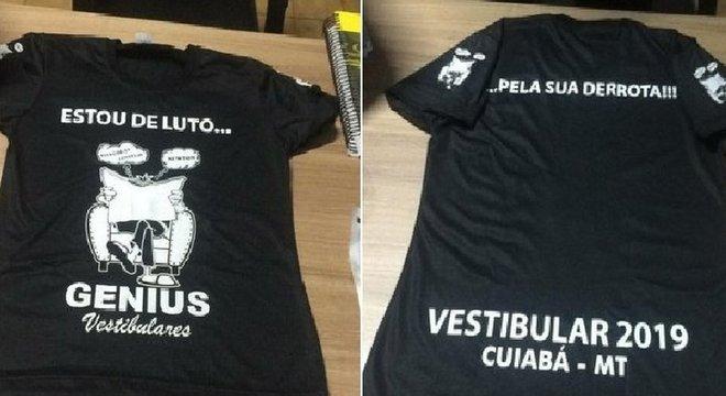 Camisa usada em 2019 por alunos de cursinho de Cuiabá repercutiu nas redes sociais