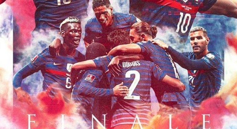 A França na final, segundo o Twitter da sua seleção