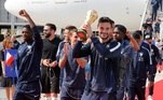 World Cup - The France team return from the World Cup in Russia Soccer Football - World Cup - The France team return from the World Cup in Russia - Charles de Gaulle Airport, Paris, France - July 16, 2018 France's Hugo Lloris holds the trophy as he arrives REUTERS/Pascal Rossignol