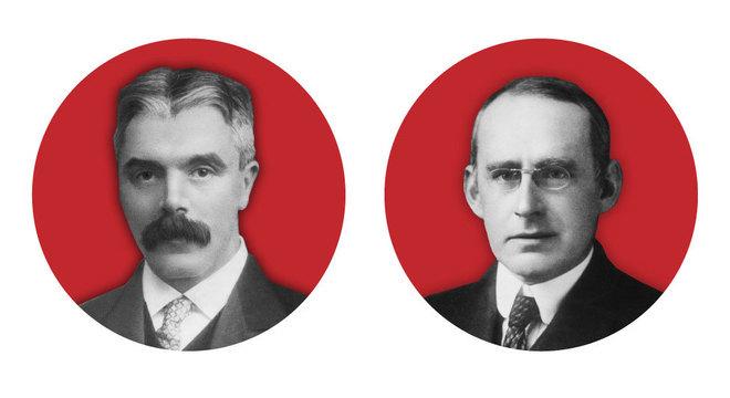 Frank Watson Dyson e Arthur Stanley Eddington usaram eclipse de 1919 para testar a teoria de Einstein; um era cético, e o outro era entusiasta das ideias do alemão
