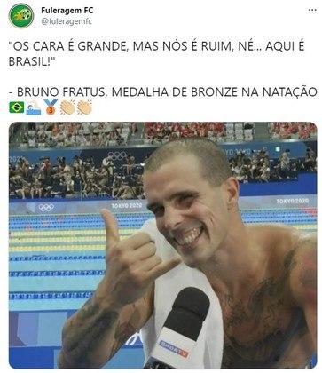 Frase de Bruno Fratus fazendo referência à altura dos adversários dos 50 metros viralizou nas redes sociais.