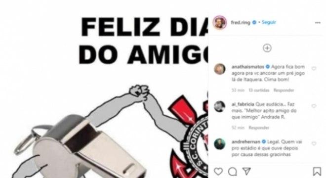 O 'apito amigo' do Corinthians. E a reação de Ana Thais e André Hernan