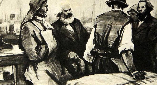 Friedrich Engels (direita) com Karl Marx (esquerda) falando com os trabalhadores portuários