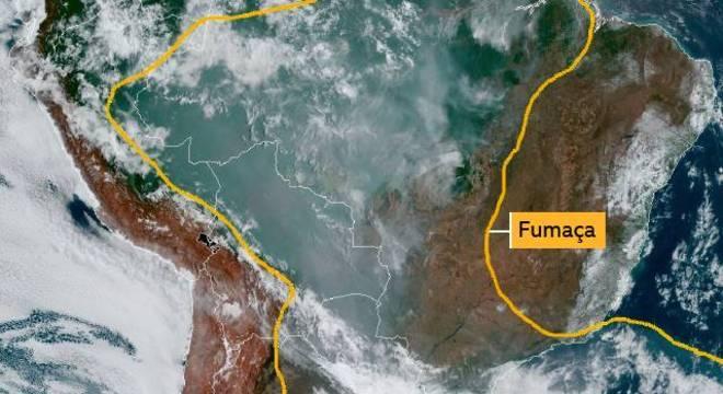 Fumaça na América do Sul em imagem de Satélite no dia 16 de setembro de 2019
