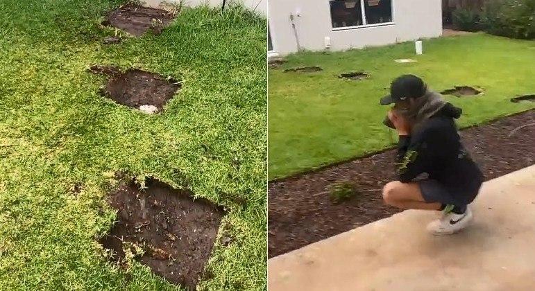 Um funcionário cavou buracos para colocar pavimentos em um jardim, mas na casa errada